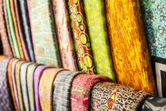 African fabrics from Ghana, West Africa. African traditional fabrics in a shop in Ghana, West Africa royalty free stock image