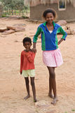 African family. African brother and sister deprived children in a village near Kalahari Desert Royalty Free Stock Photos