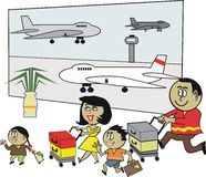African family airport cartoon. Cartoon of happy African family with luggage at airport terminal Royalty Free Stock Images