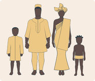 African family. Average african family with two children in traditional clothes vector illustration