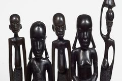 African Family Close-up. African woodcarvings depicting a family.  Image carved by Tanzanian craftsman adn is not copyrighted Royalty Free Stock Image