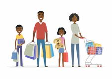 African family goes shopping - cartoon people characters isolated illustration. On white background. Smiling parents with children carrying package with goods Stock Photography