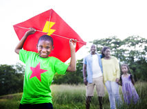 African Family Happiness Holiday Vacation Activity Concept.  Stock Photos