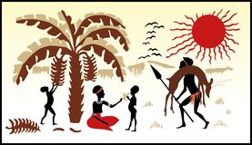 African family life. Africa landscape background. Hunter African family and sun set Stock Image