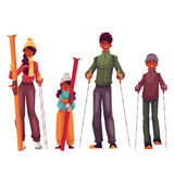 African family portrait, father, mother, daughter and son with ski Royalty Free Stock Photography