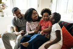 African family spending time together stock photography