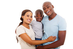 African family three. Portrait of happy african family of three isolated on white royalty free stock photos