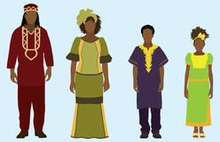 African Family. Wearing African garb, attire, clothing vector illustration