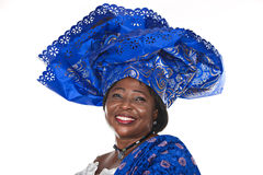 African fashion. Senior african woman in traditional Ghanaian clothes Royalty Free Stock Image