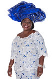 African fashion. Senior african woman in traditional Ghanaian clothes Stock Image