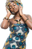 African fashion model on white background. Royalty Free Stock Photo