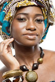 African fashion model on white background. Stock Photography