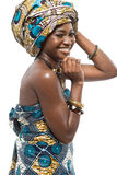 African fashion model on white background. Stock Images