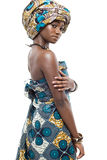 African fashion model on white background. Stock Photos