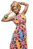 African fashion model on white background. Royalty Free Stock Photos