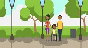 African father mother daughter wheelchair full length avatar over city park street lamp green lawn trees template. Background flat vector illustration royalty free illustration