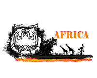 African fauna and flora. Grunge background with African fauna and flora Royalty Free Stock Photography