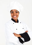 African female chef. Half length portrait of african american female chef over white Royalty Free Stock Image