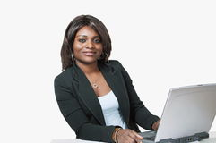 African female with laptop Stock Photos