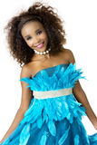 African Female Model Wearing Turquoise Feathered Dress, Big Afro Royalty Free Stock Image