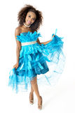 African Female Model Wearing Turquoise Feathered Dress, Full Length Royalty Free Stock Photos