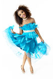 African Female Model Wearing Turquoise Feathered Dress, Full Length Royalty Free Stock Images