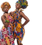 African female models posing in dresses. African female models posing in colorful dresses stock images