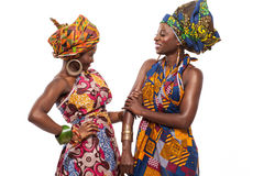 African female models posing in dresses. African female models posing in colorful dresses stock photos