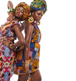 African female models posing in dresses. Stock Photo