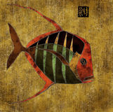 'African' fish, collage. Exotic fish in 'African' color scheme, collage, hand drawing filled with paper texture, sealed with Chinese-style personal seal Royalty Free Stock Images