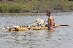 African fisherman Royalty Free Stock Images