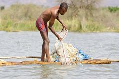 African fisherman Royalty Free Stock Image