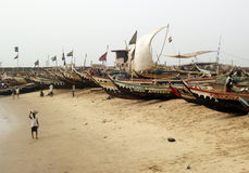 African fishermen and boats Royalty Free Stock Image
