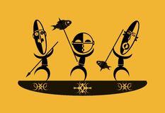 African fishers. Illustration showing three African fishers in a dugout canoe Royalty Free Stock Images