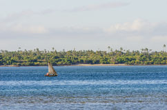 African fishingboat in lagoon. Traditional sailing wooden fishing boat. In lagoon at Ras Lwale. Zanzibar channel, Pwani region, Tanzania, Africa Stock Images