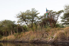 African flags over Kwando. Flags of South Africa, Botswana and Namibia fly over Kwando River, Namibia Botswana border, 2015 stock image
