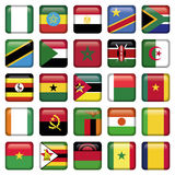 African Flags Square Icons. Zip includes 300 dpi JPG, Illustrator CS, EPS10. Vector with transparency Royalty Free Stock Images