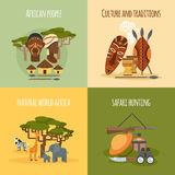 African 4 flat icons square composition Royalty Free Stock Photography