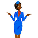 African Flight Attendant Showing Emergency Exits on Plane. Cute cheerful dark skin female flight attendant in blue and red uniform gesturing emergency exits on Royalty Free Stock Photography