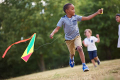 African flying a kite Stock Photography