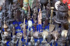 African folk art. Metal objects have many functions and meanings in Africa where forging has been regarded as an almost magical process that is likened to the Royalty Free Stock Image