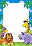 African frame with animals 3. Color illustration Royalty Free Stock Image