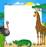African frame with animals 01. Vector illustration stock illustration