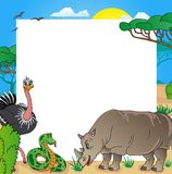 African frame with animals 03. Vector illustration Stock Photo