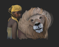 African friends. Adorable african girl with her friend the lion, african culture Royalty Free Stock Image