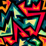 African geometric seamless pattern with grunge effect. (eps 10 vector file Stock Illustration