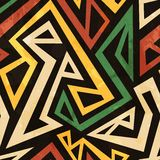 African Geometric Seamless Pattern With Grunge Effect Royalty Free Stock Photography