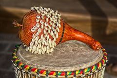 African Ghana Shekere drum Royalty Free Stock Images