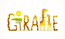 African Giraffe Animals Fun Lettering Landscape Stock Images