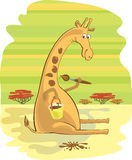 African giraffe paints a spot. Caricature illustra Stock Image